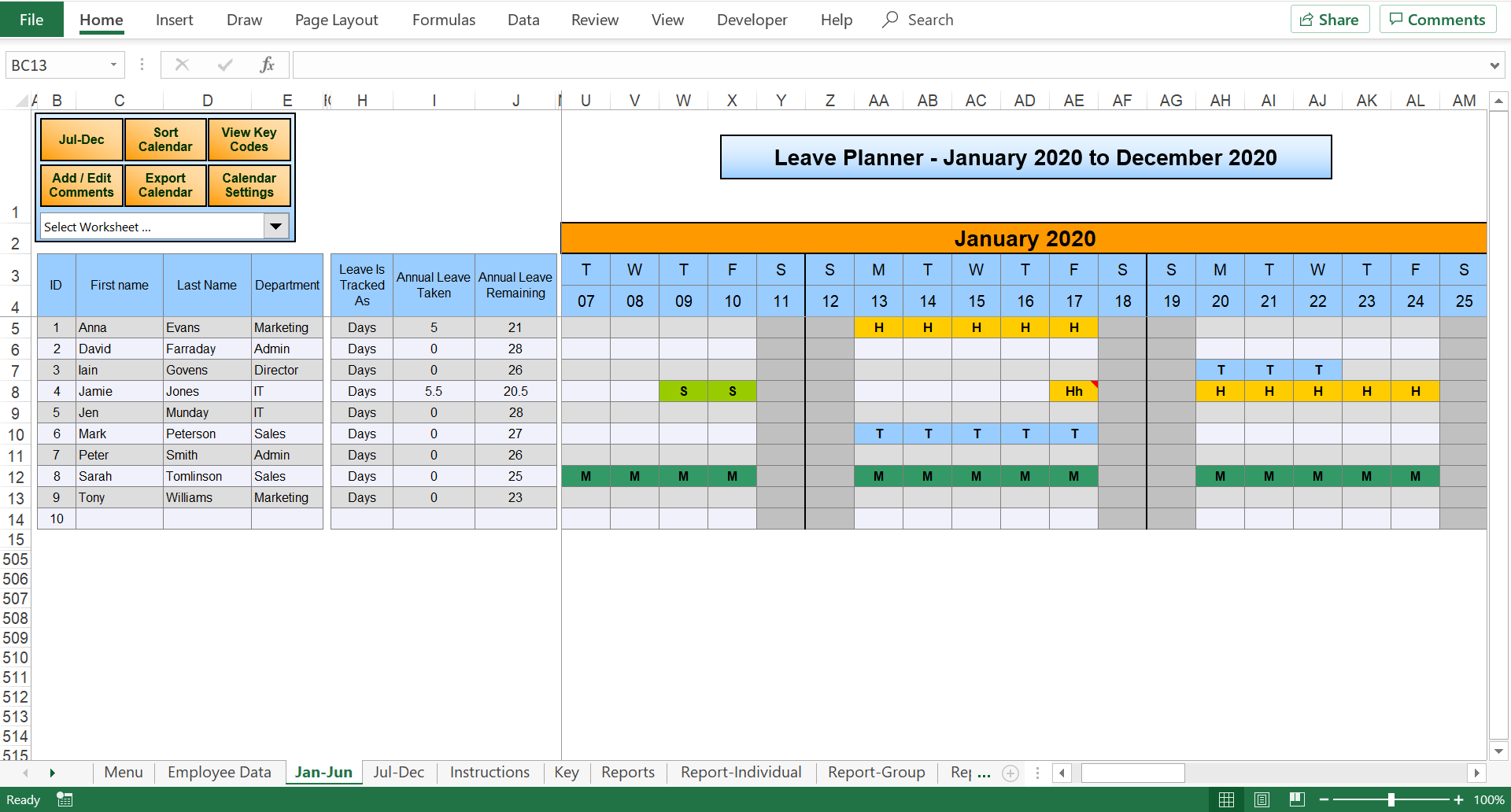 Excel Holiday Planner Staff Holiday Management